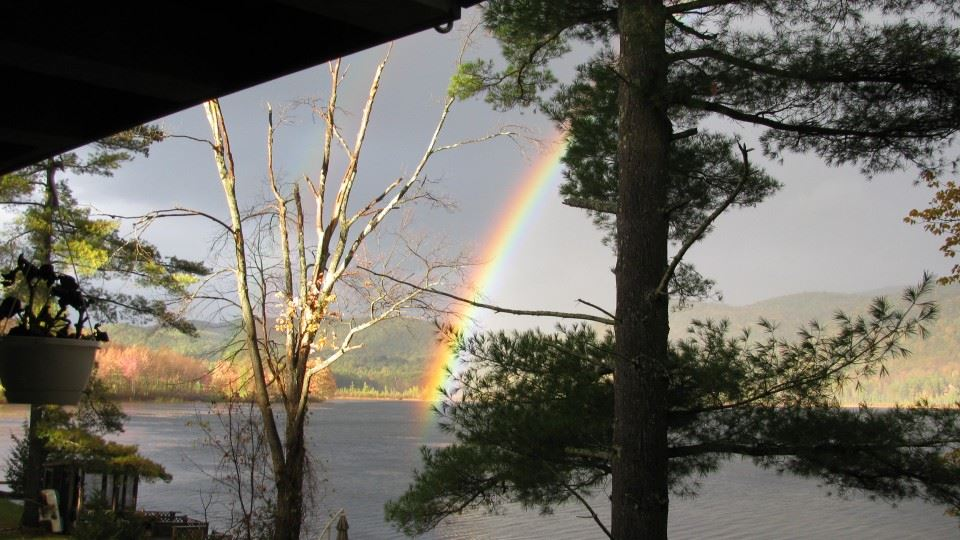 A rainbow over Little Lake St. Catherine.
